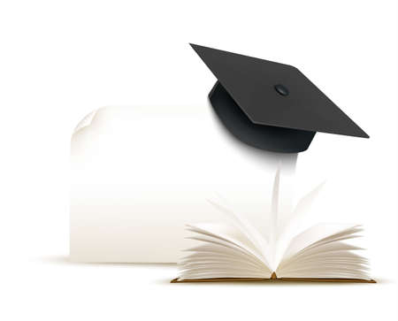 examiert: Graduation cap on white background with a book. Vector.