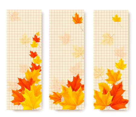 Three autumn banners with color leaves. Vector Vector