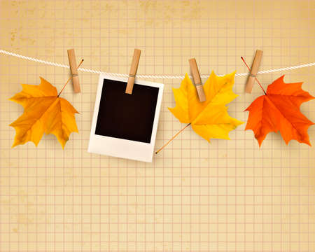 photo backdrop: Autumn background with colorful leaves on rope. Vector illustration.