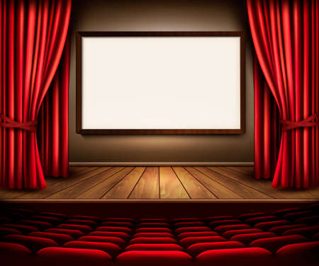 theater audience: A theater stage with a red curtain, seats and a project board. Vector.