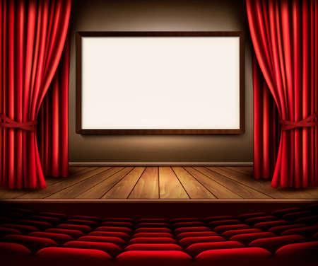 Een theater podium met een rood gordijn, stoelen en een project board. Vector.