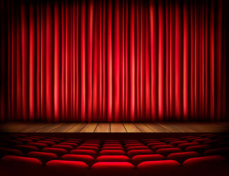 A theater stage with a red curtain, seats. Vector.  Ilustração