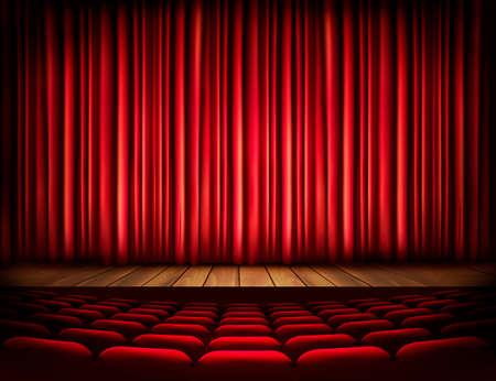 Een theater podium met een rood gordijn, zetels. Vector. Stock Illustratie