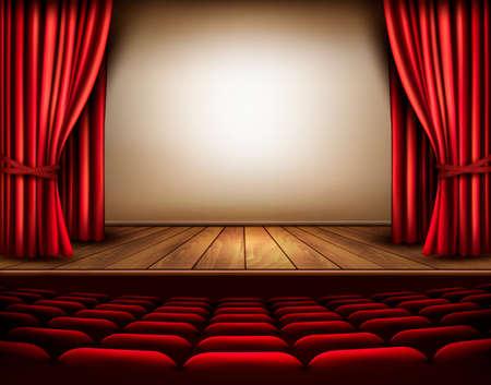 Een theaterpodium met een rood gordijn, stoelen. Vector. Stock Illustratie
