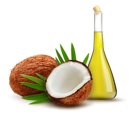 green bottle: Coconut with oil. Vector.