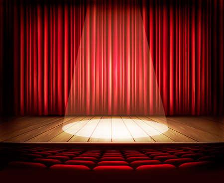 Une scène de théâtre avec un rideau rouge, sièges et un projecteur. Vector.