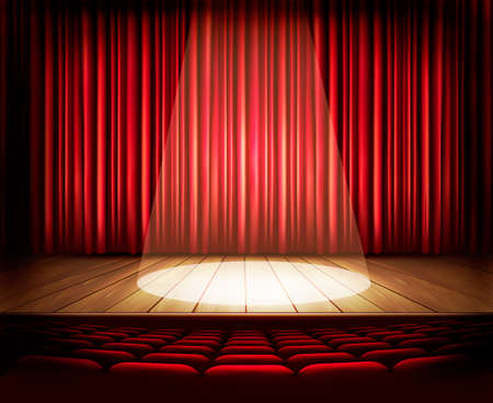 window curtains: A theater stage with a red curtain, seats and a spotlight. Vector.