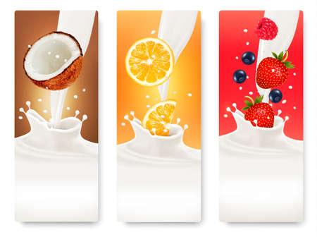 mleka: Trzy owoce i mleko banery. Wektor. Ilustracja