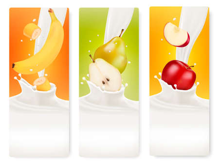Three fruit and milk banners. Vector.  Vettoriali