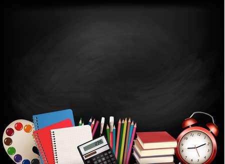 Retour à school.Chalkboard de fournitures scolaires. Vector.