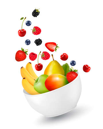 Bowl of healthy fruit. Concept of diet. Vector illustration. Vector