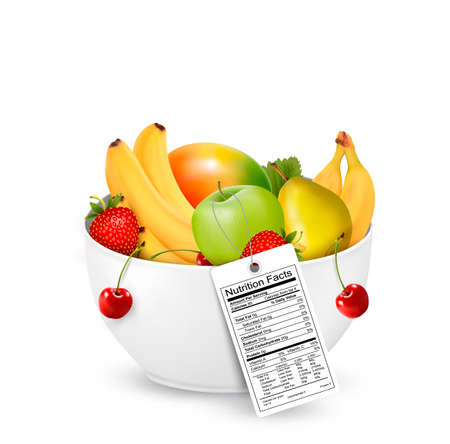 Bowl of healthy fruit with a nutrient label. Vector. Vector