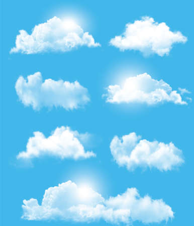condensation: Set of transparent different clouds. Vector.