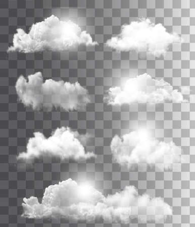 Background with a cloudy blue sky. Vector. Ilustrace
