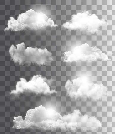 meteo: Sfondo con un cielo nuvoloso blu. Vector.