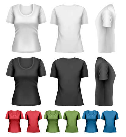 short sleeve: Set of colorful female t-shirts. Vector Illustration
