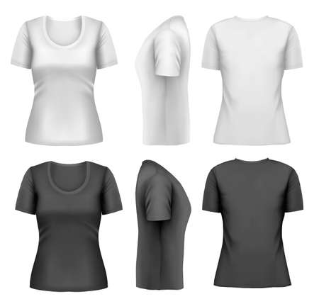 Set of colorful female t-shirts. Vector Vector