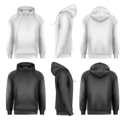 Set of black and white male hoodies with sample text space. Vector