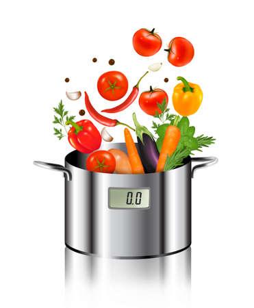 Gemüse in einen Topf fallen. Gesunde Ernährung und Lebensmittel-Konzept. Vector. Standard-Bild - 31356348