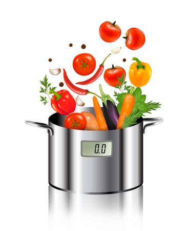 Vegetables falling into a pot. Healthy and diet food concept. Vector. Illustration