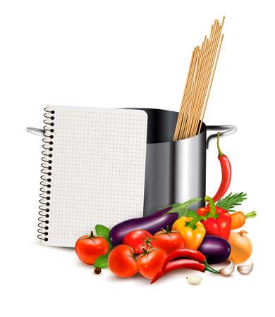 Recipe template. Cookbook, vegetables and casserole. Vector Illustration