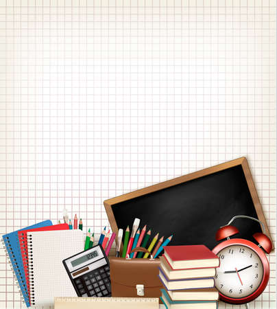 greenboard: Back to school. Education background with school supplies. Vector