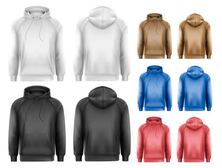 casual hooded top: Set of black and white and colorful male hoodies with sample text space. Vector