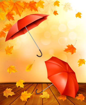 Autumn background with autumn leaves and orange umbrellas. Vector.