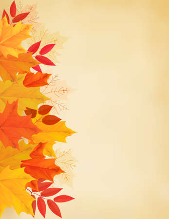 Retro autumn background with colorful leaves. Vector illustration.