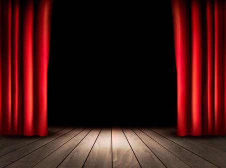 cortinas: Teatro escenario con piso de madera y cortinas rojas. Vector.