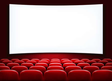 theater auditorium: Rows of red cinema or theater seats in front of white blank screen. Vector.