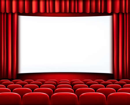 watching movie: Rows of red cinema or theater seats in front of white blank screen. Vector.
