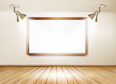 art gallery: Showroom with wooden floor, white board and two lights. Vector.