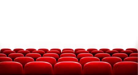 sillon: Filas de cine o teatro asientos de color rojo en frente de la pantalla en blanco blanco con el espacio de texto de ejemplo. Vector.