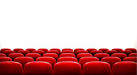 theater auditorium: Rows of red cinema or theater seats in front of white blank screen with sample text space. Vector.