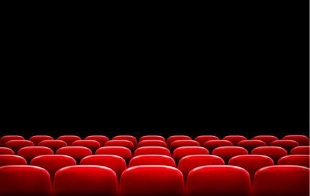 sillon: Filas de cine o teatro asientos de color rojo en frente de la pantalla en negro con espacio de texto de ejemplo. Vector.