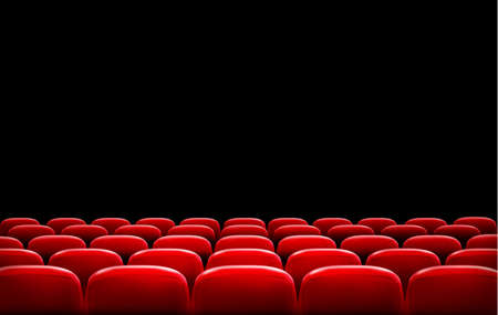 film: Rows of red cinema or theater seats in front of black screen with sample text space. Vector. Illustration