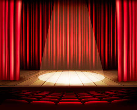 theater audience: A theater stage with a red curtain, seats and a spotlight. Vector.