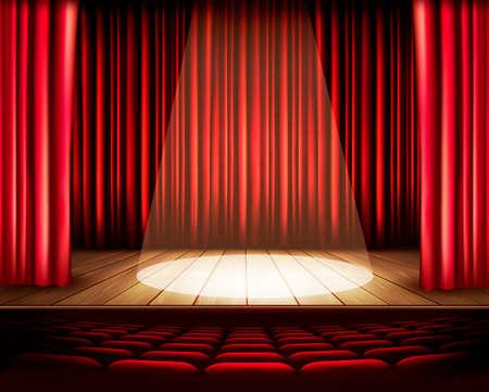 telon de teatro: Un escenario de teatro con una cortina de color rojo, asientos y un centro de atención. Vector. Vectores
