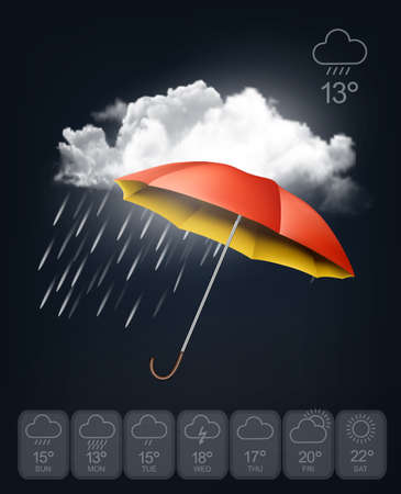 Weather forecast template. An umbrella on rainy background. Vector. Vector