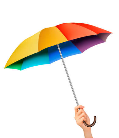 rainbow umbrella: Hand with a rainbow umbrella. Vector. Illustration