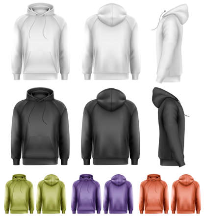 hoodie: Set of different colored male hoodies. Vector.