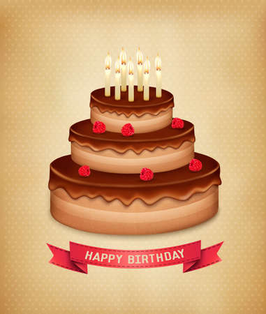 Background with birthday chocolate cake. Vector. Vector