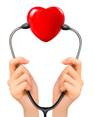 stethoscope heart: Medical background with hands holding a stethoscope with red heart. Vector.