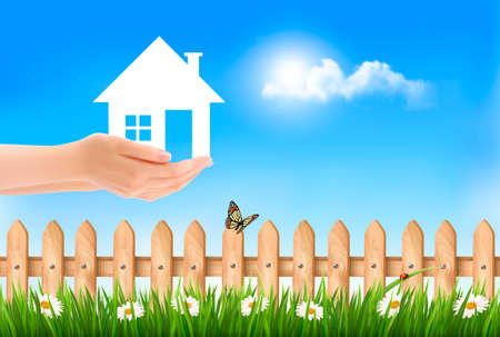 our: The house in hand on green natural background. Vector.