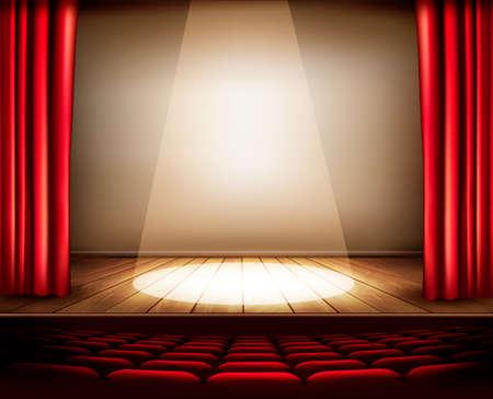 cortinas: Un escenario de teatro con una cortina de color rojo, asientos y un centro de atención. Vector. Vectores