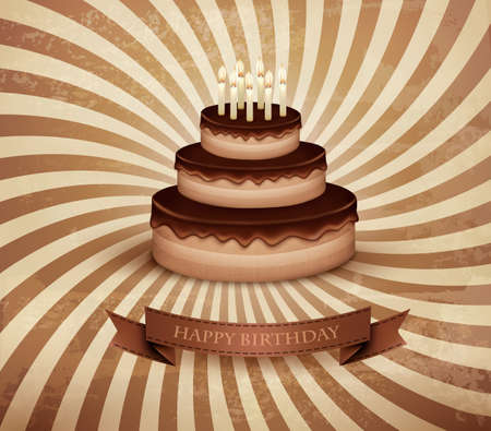 Retro background with birthday chocolate cake. Vector. Vector