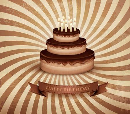 Retro background with birthday chocolate cake. Vector. Vector