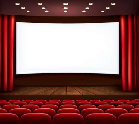 seat: Cine con pantalla en blanco, cortina y asientos. Vector. Vectores