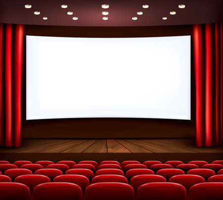 theater auditorium: Cinema with white screen, curtain and seats. Vector.